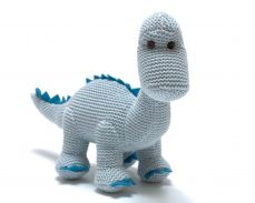 Best Years Organic Blue Diplodocus Knitted Rattle