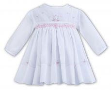 Sarah Louise Winter White Dress With Embroidered Flowers 011280