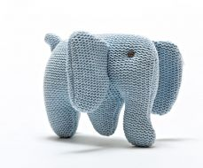 Best Years Knitted Organic Elephant Rattle Blue