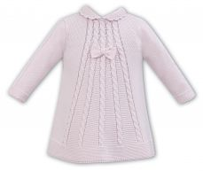 Sarah Louise Pink Knitted Winter Dress With Bow 008056