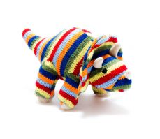 Best Years Knitted Stripe Triceratops Rattle
