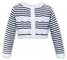 Sarah Louise Girls Summer Navy And White Cardigan 011508