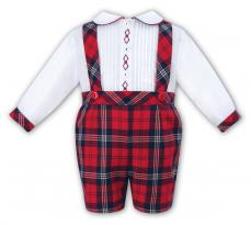 Sarah Louise Boys Spanish Shirt & Short Dungaree Set Tartan 011018
