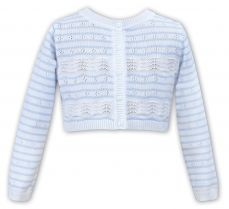 Sarah Louise Girls Summer Pale Blue And White Cardigan 011508