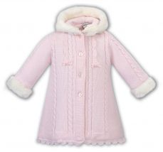 Sarah Louise Knitted Coat With Fur Trim Pink 008098