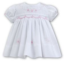 Sarah Louise Summer White Dress With Pink Embroidery 011053