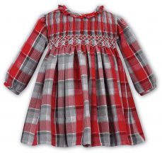Sarah Louise Girls Winter Red And Grey Check Dress 011733