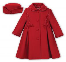 Sarah Louise Girls Red Winter Coat And Hat 011780