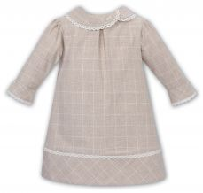 Sarah Louise Girls Winter 3/4 Sleeve Beige Dress 011748