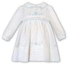 Sarah Louise Winter Ivory And Mint Embroidered Dress 011645