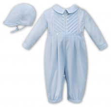 Sarah Louise Boys Winter Romper And Cap Pale Blue 011611