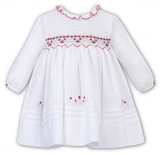 Sarah Louise Winter Dress White With Grey And Red Embroidery 011627