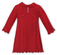 Sarah Louise Girls Winter Knitted Red Dress 008091
