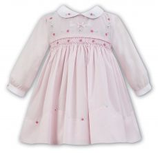 Dani By Sarah Louise Winter Dress In Pink With Collar & Smocking D09260