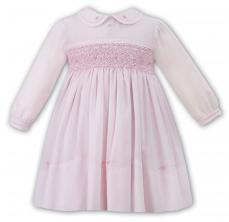 Sarah Louise Pink Long Sleeved Smocked Dress 010902L