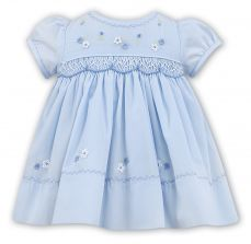 Sarah Louise Summer Pale Blue Dress With Smocking 011469