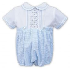 Sarah Louise Boys Summer Bubble Pale Blue Gingham With Smocking 011515