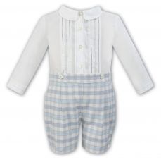 Sarah Louise Boys Spanish Set Of Ivory Shirt & Grey Check Shorts 011329