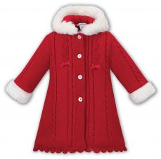 Sarah Louise Knitted Coat With Fur Trim Red 008098