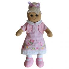 Powell Craft Rag Doll Pink Butterfly Embroidered Dress