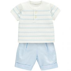 Emile et Rose 'Milo' Knit Top With Stripe Ridge & Woven Shorts
