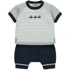 Emile et Rose 'Matthew' Navy Knitted Top & Short Set With Car Embroidery