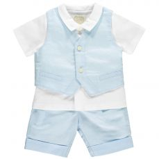 Emile et Rose 'Kayden' Shirt Shorts & Waistcoat With Baker Boy Hat