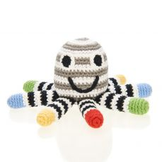 Best Years Pebble Crochet Octopus Rattle Black & White