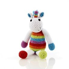 Best Years Pebble Crochet Unicorn Rattle Rainbow