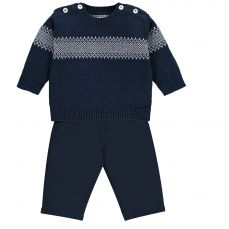 Emile et Rose 'Nesbit' Navy Two Piece of Fairisle Top And Trouser