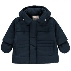Emile et Rose 'Neil' Navy Microfibre Jacket With Hood And Mitts
