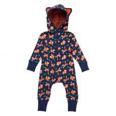 Piccalilly Fox Print Hooded Playsuit