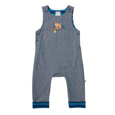 Piccalilly Fox Embroidered Chambray Dungarees