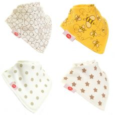 Ziggle Baby Bandana Dribble Bib 4 Pack Stylish Cream
