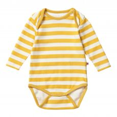 Piccalilly Mustard Stripe Baby Bodysuit