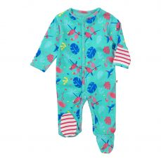 Piccalilly Tropical Footed Sleepsuit