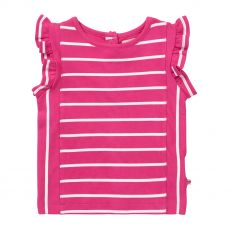 Piccalilly Pink Stripe Ruffle Vest Top