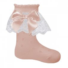Pex Tina Pink Frilly Bow Ankle Sock