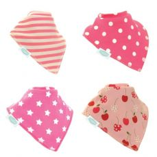 Ziggle Baby Bandana Dribble Bib 4 Pack Pretty Pinks