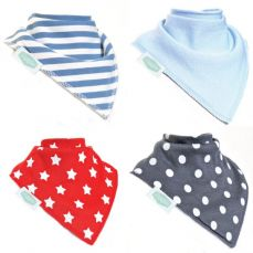 Ziggle Baby Bandana Bibs 4 Pack Blues