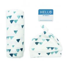 Lulujo Hello World Bamboo Hat And Swaddle Blanket Navy Triangles