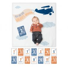 Lulujo Babys First Year Cotton Swaddle And Cards Greatest Adventure