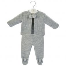 Dandelion Grey Knitted Pom-Pom Top Trouser And Vest Set A2563