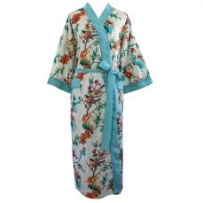 Powell Craft Turquoise Hummingbird Print Ladies Dressing Gown