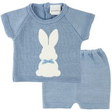 Dandelion Knitted Bunny Top & Shorts Dusky Blue A3594