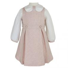 Abella Spanish Winter Pinafore & Top Pink & Ecru 1040