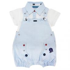 Abella Sailor Theme T-shirt & Dungaree Pale Blue/White ABS9054