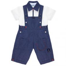 Abella Navy Dungaree & Polo Top ABS9056