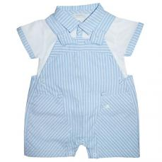Coco Boys Summer T-shirt & Short Dungaree Set Blue & White CCS5529