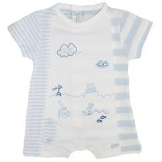 Coco Boys Summer Romper Blue & White CCS5534